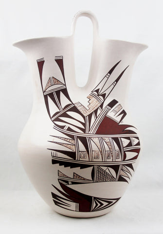 Native American, Extraordinary Vintage Hopi Poly Chrome Wedding Vase, by Marianne Navasie, Ca 1980's-1990's, #1495