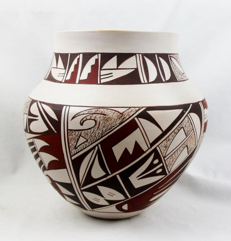Native American Vintage Hopi Poly Chrome Pottery Jar, by Joy Navasie, Frog Women (1919-2012), Ca 1980's, #1494