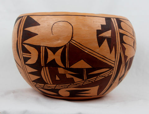 Native American, Vintage Hopi Poly Chrome Pottery Bowl, by Kathleen Collateta, Ca. 1970's-1980's,  #1493