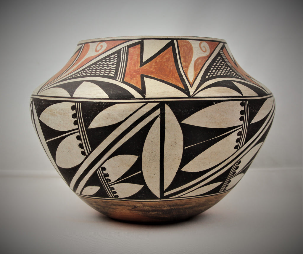 Native American, Vintage Acoma Polychrome Pottery Olla, by J. Leno, Ca 1950's, #1671 Sold