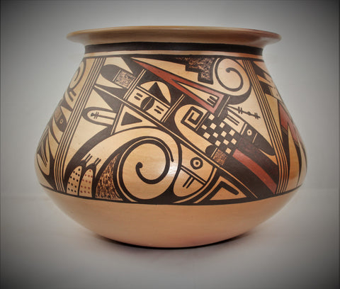 Native American, Extraordinary Large Traditional Hopi Polychrome Pottery Jar, by Dee Setalla, Bear Clan, # 1690