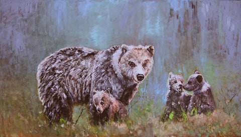 "Contemporary Western Art, ""Mama and Her Three Little Cubs"", by Linda Gulinson, #C 1523"