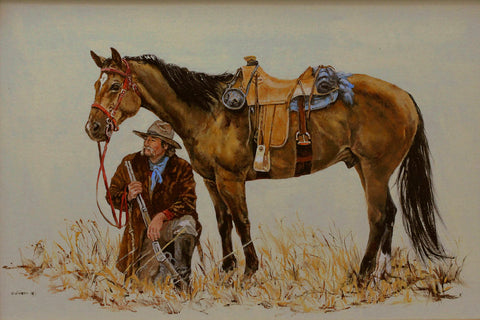 "Traditional Western Art, ""Movement on the Horizon"", by Linda Gulinson, #1358"