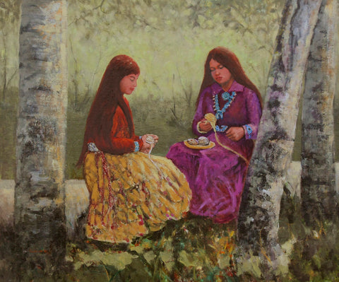 "Traditional Western Art, ""Preparing Yarn"", by Linda Gulinson, #1355"