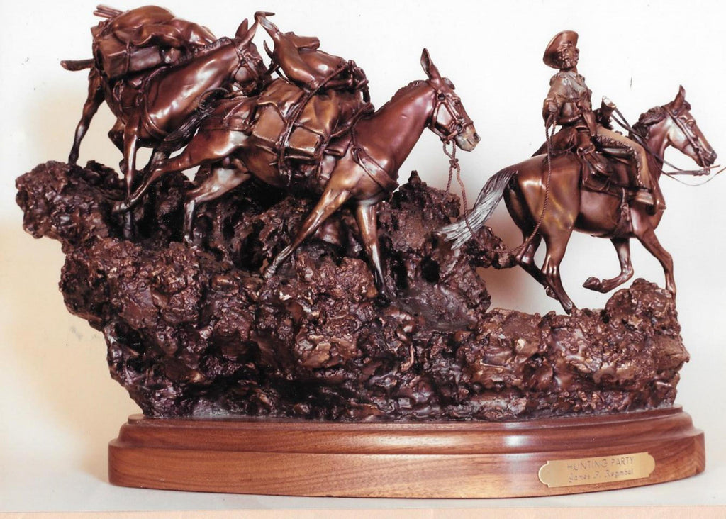 "Hunting Art : James Regimbal Rare Ltd Edition Western Bronze ""Hunting Party"" Cowboy and Indians, 1/60, Ca 1970-1989 #1515"