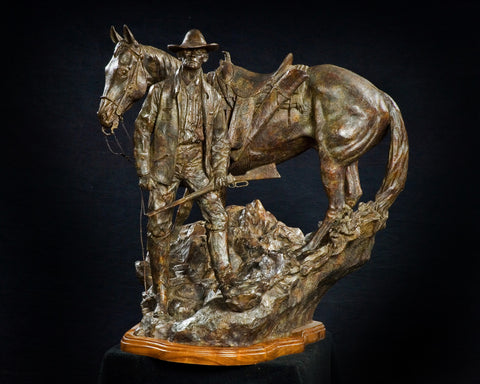 "Western Bronze Sculpture, by Renowned Western Artist Jeff Wolf, Entitled ""The Stock Detective"", Available Limited Edition, 6 of 25, #1006"