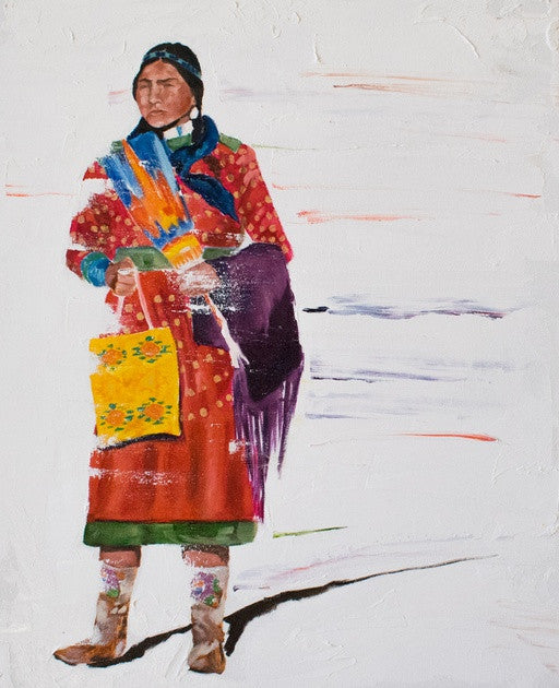 "Native American, Oil on Canvas, Titled ""Mothers Knowledge"" From the Vanishing Series, By Del Curfman, #1166"