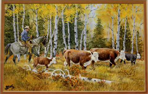 "Western Artist, Ron Stewart, Water Color Painting, Entitled ""Time to Gather"" #773"