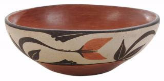 Native American Vintage Santo Domingo Pueblo Pottery Bowl Ca 1960's, #1067