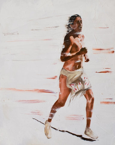"Native American, Oil on Canvas, Titled ""Velocity"" From the Vanishing Series, By Del Curfman, #1167"