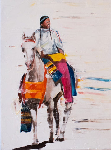 "Native American, Oil on Canvas, Titled ""West"" From the Vanishing Series, By Del Curfman, #1169"