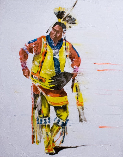 "Native American, Oil on Canvas, Titled ""Focus"" From the Vanishing Series, By Del Curfman, #1165"