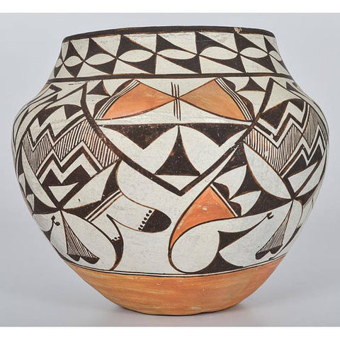 Native American, Vintage Acoma Poly Chrome Pottery Olla, # 1123