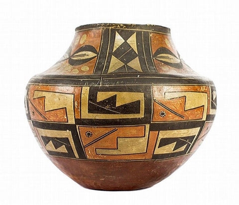 Native American Historic Acoma Geometric Polychrome Olla #42