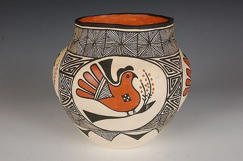 Pottery Vase : Acoma Pottery Vase with Bird, by H. Miller #8 Sold
