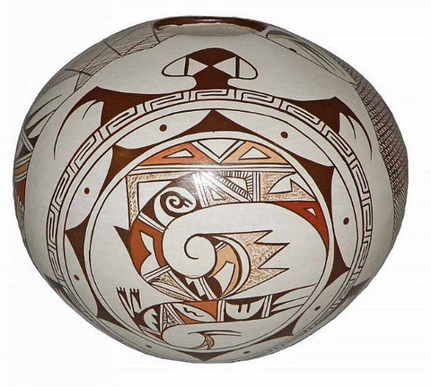 Southwest Pottery : Native American Hopi Pottery Seed Pot, by Feather Woman, Sylvia Naha #16