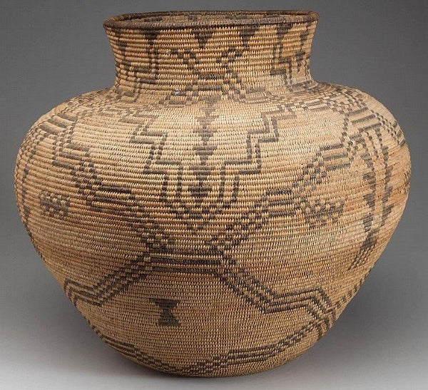 Traditional Native American Basket Weaving : Apache supurb native american western olla coiled