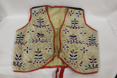 Antique Native American : Very Fine Native American Santee Sioux Childs Beaded and Hide Vest #84 Sold