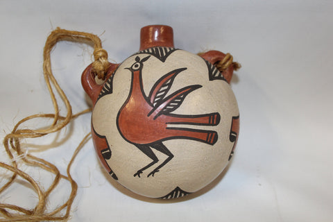 Canteen : Native American Zia Polchrome Bird Design Canteen, signed by Sofia Medina #127 SOLD