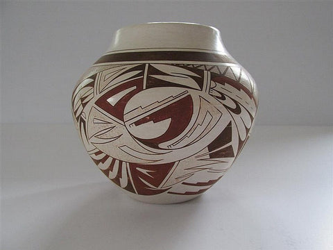 Hopi Pottery :  Native American Hopi Polychrome Pottery Jar, by Maynard and Veronica Navasie #236 Sold