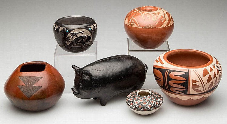 Native American Pottery Handmade :  Extremely Nice Native American Pueblo and Other contemporary Pottery, Group of Six #37