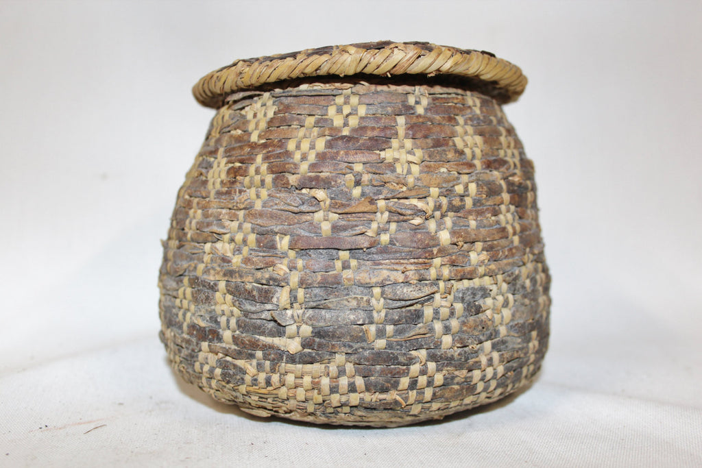 Vintage Basket : Vintage Rare Handmade Omani Bedouin Lidded Basket, Interlaced with Leather, Having a Lizard Skin Top and Bottom