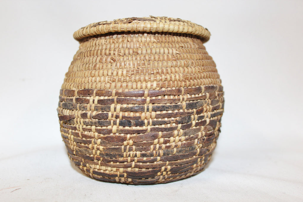 Antique Basket : Vintage Rare Handmade Omani Bedouin Lidded Basket, Interlaced with Leather, Having Remints of a Lizard Skin Top and Bottom