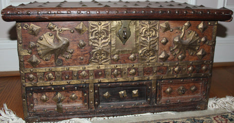 Furniture Antiques : Antique Omani Teak And Brass Storage Chest, #868.
