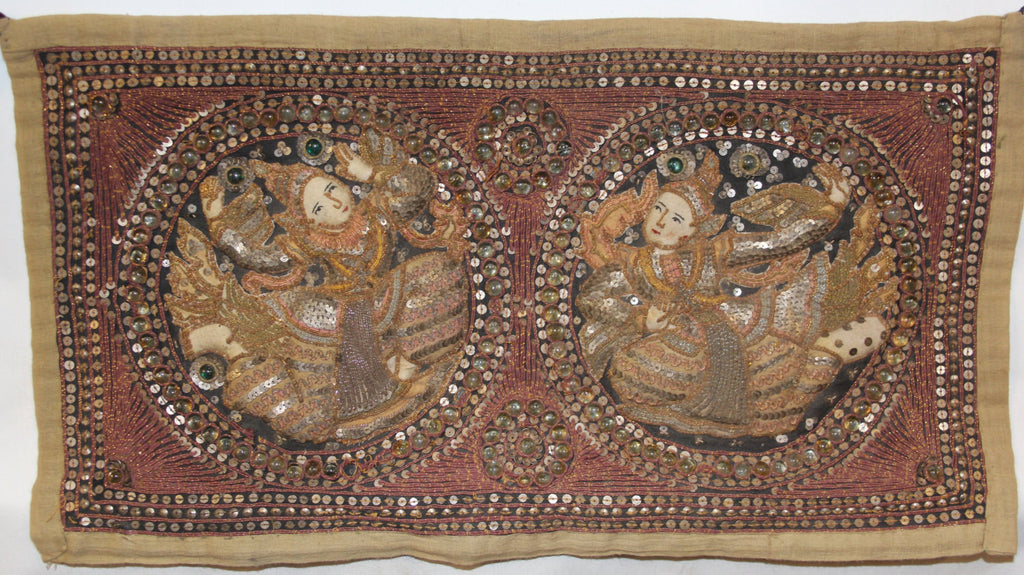 Antique Tapestry : Antique Burmese Kalaga Tapestry
