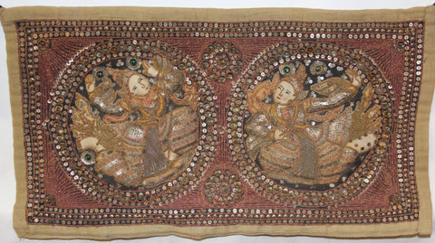 Antique Tapestry : Antique Burmese Kalaga Tapestry #861