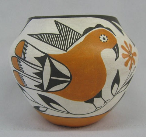Bird Pottery : 1950's Minature Acoma Zia Bird Polychrome Pottery Jar #251 SOLD
