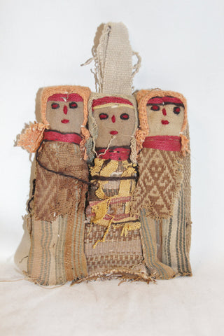 Primitive Dolls : Small Chancay Peruvian Funerary Dolls-Set of 3 #345