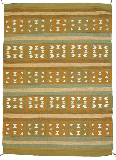Navajo Rug : Exceptional Fine Weave Banded Crystal Rug by Glenabah Hardy #295