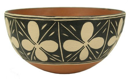 Pottery Bowl : Beautiful Classic Design Polychrome Vintage Santo Domingo Pottery Bowl by Robert Tenorio #303