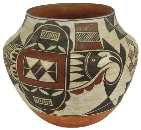 Vintage Pottery : Classic Shaped Thin Walled Vintage Acoma Polychrome Pottery Jar #291