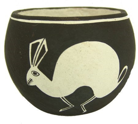 Pottery Bowl : Unique Reverse Design Vintage Acoma Rabbit Pottery Bowl by Emma Lewis #305