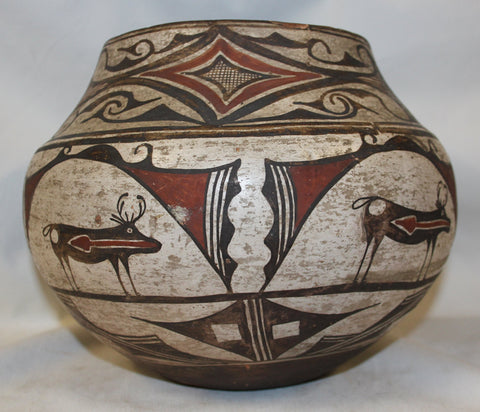 Native American Historic Zuni Polychrome Pottery Storage Jar #320