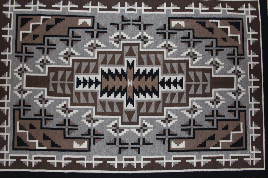 Navajo : Very Fine Navajo Traditional Two Gray Hills Weaving by Mary Henderson #323