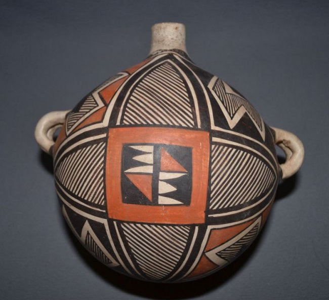 Vintage Pottery : Very Nice Vintage Acoma Polychrome Canteen #355