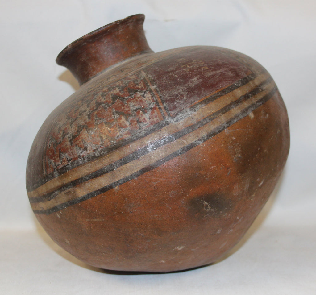 Antique Pottery : Very Good Wari Pre-Columbian Polychrome Pottery Storage Vessel From Peru #360