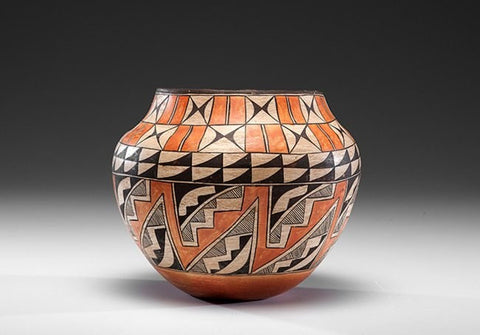 Native American Pottery Historic Polychrome Acoma Olla, ca 1900 #386-Sold