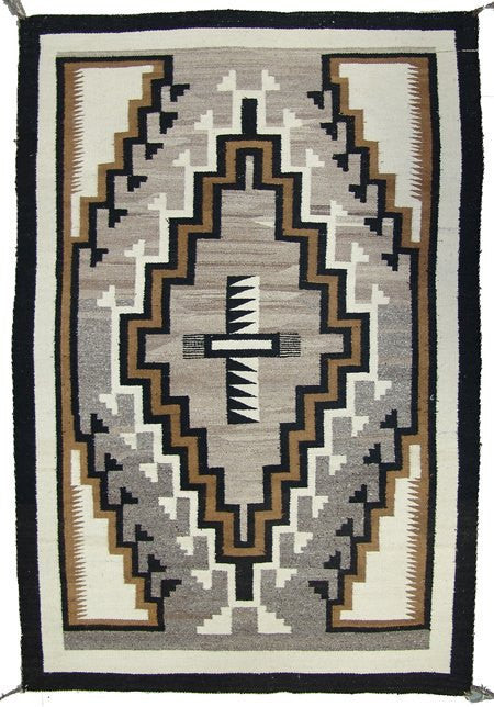 Navajo Rug : Outstanding Navajo Earth Tone Two Grey Hill Rug, Ca 1950'-60's #392