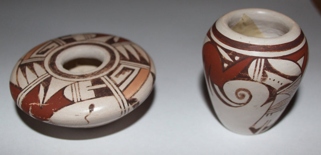 Pottery : Two Fine Miniature Traditional Hopi Pottery Polychrome Pots by Leona Navasie #65