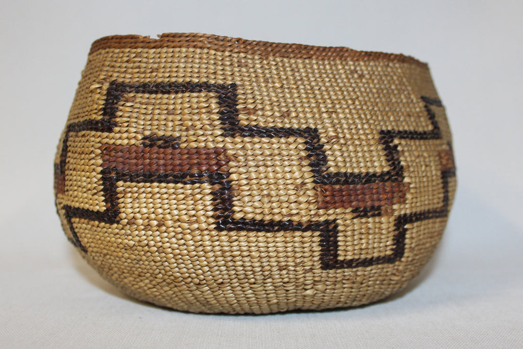 Native Basket : Vintage California  Karuk Twined Basketry Bowl #406