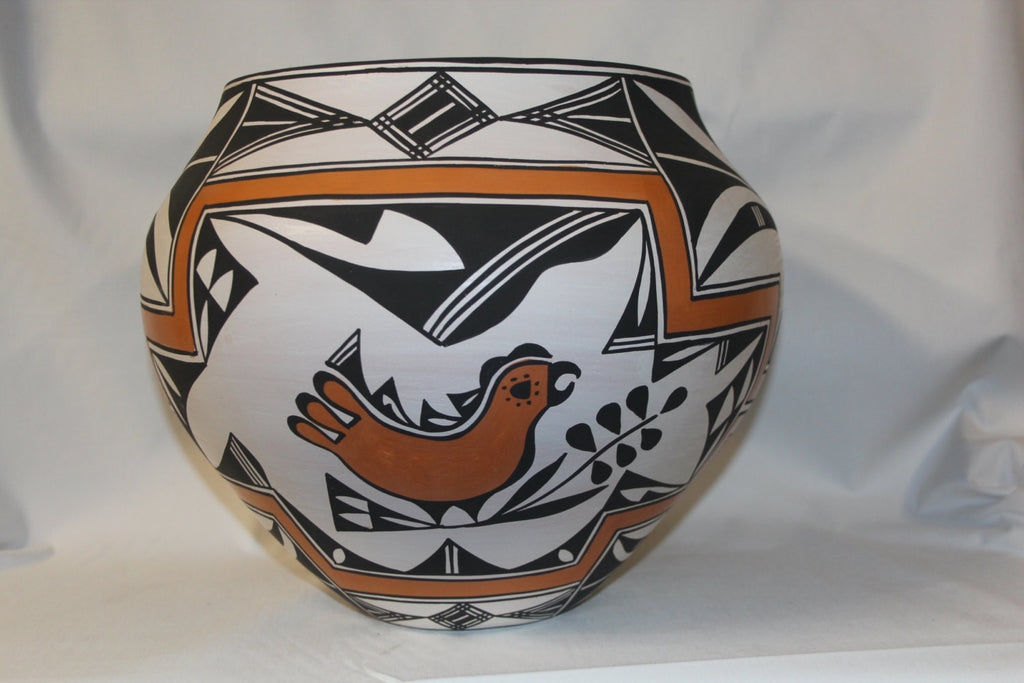 Native American Pottery : Great Large Acoma Polychrome Jar with Bird, Floral, and Fine Line Motif #56