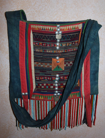 Vintage Purse : Rare Large Vintage Akha Purse from Northern Thailand, ca 1950's-60's #416