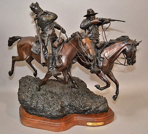 "Western Art : Spectacular Western Bronze Sculpture Entitiled ""Crossfire"" by James P. Regimbal 26/35 #438"