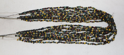 Antique Necklace : Rare Multi-Strand Bead Necklace From Bagan, Myanmar #448