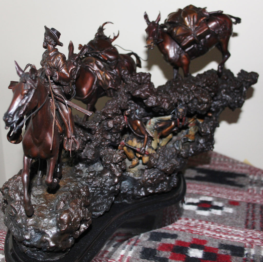 "Hunting Art : James Regimbal Rare Ltd Edition Wester Bronze ""Hunting Party"" Cowboy and Indians, 32/50, Ca 1970-1989 #468"