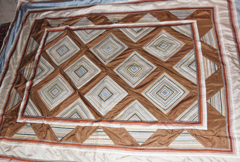 Silk Bed Spread : Handmade Vintage Custom Designed Queen Sized Thai Silk Bed Spread in Homong Pattern, From Chiang Mai, Thailand #471